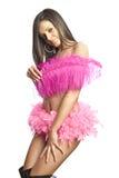 Reizvolles Tänzermädchen, das durch Feder sich versteckt Lizenzfreie Stockbilder