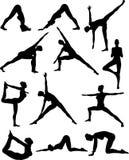 Reizvolles Yoga Silouettes Stockfotografie