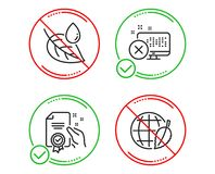 Reject access, Leaf dew and Certificate icons set. Environment day sign. Vector stock illustration