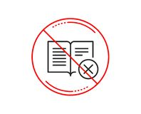 Reject book line icon. Decline read sign. Vector. No or stop sign. Reject book line icon. Decline read sign. Delete article. Caution prohibited ban stop symbol stock illustration