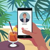 Reject call from boss in vacation. Finger on Decline button on smartphone. Reject incoming call from boss. First person view. Vacation at sea. Ignore the work Stock Photo