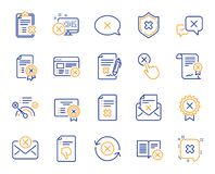 Reject or cancel line icons. Set of Decline, Cancellation and Dislike. Vector. Reject or cancel line icons. Set of Decline certificate, Cancellation and Dislike royalty free illustration