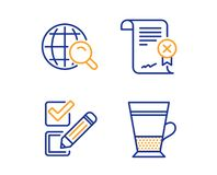 Reject certificate, Checkbox and Internet search icons set. Double latte sign. Vector stock illustration