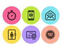 Reject certificate, Elevator and Message icons set. Timer, Web mail and Tips signs. Vector vector illustration