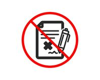 Reject file icon. Decline document sign. Vector. No or Stop. Reject file icon. Decline document sign. Delete file. Prohibited ban stop symbol. No reject file vector illustration