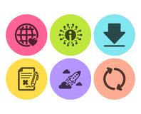 Reject file, International love and Startup rocket icons set. Info, Downloading and Refresh signs. Vector royalty free illustration