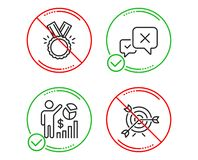 Reject, Honor and Seo statistics icons set. Target sign. Delete message, Medal, Analytics chart. Targeting. Vector. Do or Stop. Reject, Honor and Seo statistics vector illustration
