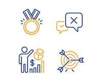 Reject, Honor and Seo statistics icons set. Target sign. Delete message, Medal, Analytics chart. Targeting. Vector. Reject, Honor and Seo statistics icons simple royalty free illustration