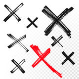 Reject mark criss cross sign crossed hand drawn vector icon Royalty Free Stock Images
