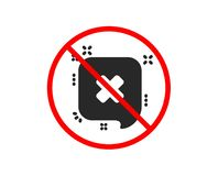 Reject message icon. Decline chat sign. Vector. No or Stop. Reject message icon. Decline or remove chat sign. Prohibited ban stop symbol. No reject icon. Vector stock illustration