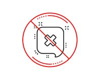 Reject message line icon. Decline chat sign. Vector. No or stop sign. Reject message line icon. Decline or remove chat sign. Caution prohibited ban stop symbol stock illustration
