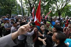 Reject oil fuel raise price demonstration in indonesia Royalty Free Stock Photos