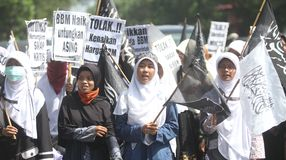 Reject oil fuel raise price demonstration in indonesia Royalty Free Stock Photo