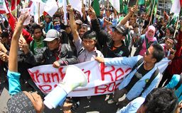 Reject oil fuel raise price demonstration in indonesia Stock Photography