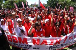 Reject oil fuel raise price demonstration in indonesia Stock Photo