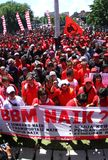 Reject oil fuel raise price demonstration in indonesia Stock Images
