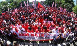 Reject oil fuel raise price demonstration in indonesia Stock Image