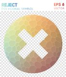 Reject polygonal symbol. Adorable mosaic style symbol. appealing low poly style. Modern design. reject icon for infographics or presentation Stock Photo