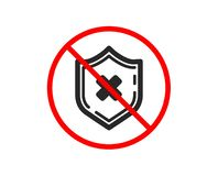 Reject protection icon. Decline shield sign. Vector. No or Stop. Reject protection icon. Decline shield sign. No security. Prohibited ban stop symbol. No reject royalty free illustration