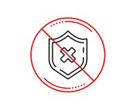 Reject protection line icon. Decline shield sign. Vector. No or stop sign. Reject protection line icon. Decline shield sign. No security. Caution prohibited ban royalty free illustration