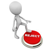 Reject. Or ion concept, little 3d man keeping foot on a  button, ready to commit a ion Stock Photography