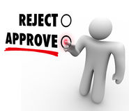 Reject Vs Approve Man Voting Touch Screen Response Stock Photos