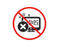 Reject web access icon. Decline monitor sign. Vector. No or Stop. Reject web access icon. Decline monitor sign. Delete device. Prohibited ban stop symbol. No royalty free illustration