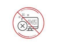 Reject web access line icon. Decline monitor sign. Vector. No or stop sign. Reject web access line icon. Decline monitor sign. Delete device. Caution prohibited vector illustration