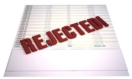 Rejected. Financial file with red 3d stamp saying rejected. illustration is isolated on white background. Concept for rejected proposal or project Stock Photos