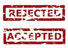 Rejected and accepted rubber stamps stock image