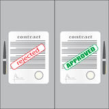 Rejected and approved contract. Vector illustration in flat style Royalty Free Stock Image
