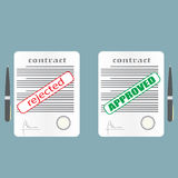 Rejected and approved contract. Vector illustration in flat style Stock Photography