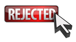 Rejected button and cursor illustration design. Over white Royalty Free Stock Images