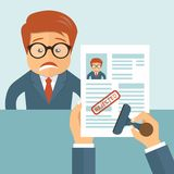 Rejected CV. Sad man and resume in hands. Recruiting, employment, human resources, team management concept. Flat  illustration Royalty Free Stock Photo