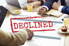 Rejected Declined Negative Document Form Concept Stock Photo