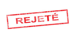 Rejected in French translation in red rectangular stamp Royalty Free Stock Image