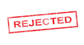 Rejected in red rectangular stamp Stock Images