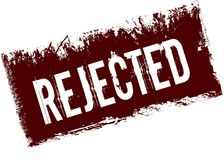 REJECTED on red retro distressed background. Illustration image Royalty Free Stock Photography