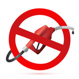Rejected sign with a gas pump nozzle Stock Images