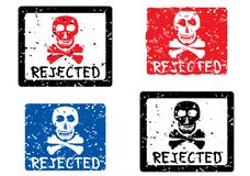 Rejected stamp. Skull. Rejected stamp with image of skull. Vector illustration Royalty Free Stock Photography