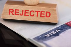 Rejected stamp on visa Stock Image
