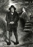 The Rejected Suitor Antique Illustration. A man rejected by a lovely female engraving circa 1862 royalty free illustration