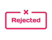 Rejected template dialog bubble, flat style on white background. Basis with mark x icon for various word of plot. Vector. Rejected template dialog bubble in flat Royalty Free Stock Photos