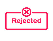 Rejected template dialog bubble, flat style on white background. Basis with mark x icon for various word of plot. Vector. Rejected template dialog bubble in flat Royalty Free Stock Photo