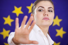 Rejecting help from european union Stock Image