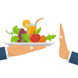 Rejecting the offered healthy food. Refuse raw food Royalty Free Stock Photos