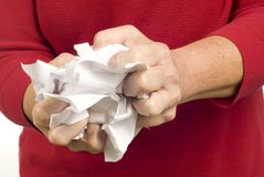 Rejecting Paperwork by Crumpling Up Paper Royalty Free Stock Photo