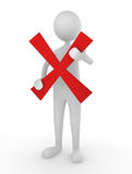 Rejection. Man holding a red cross mark; concept for declination or rejection Royalty Free Stock Images