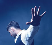 Rejection. Concept with portrait of man with outstretched hand and spread fingers Stock Photography