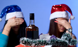 Rejection of alcohol two girls Stock Photography